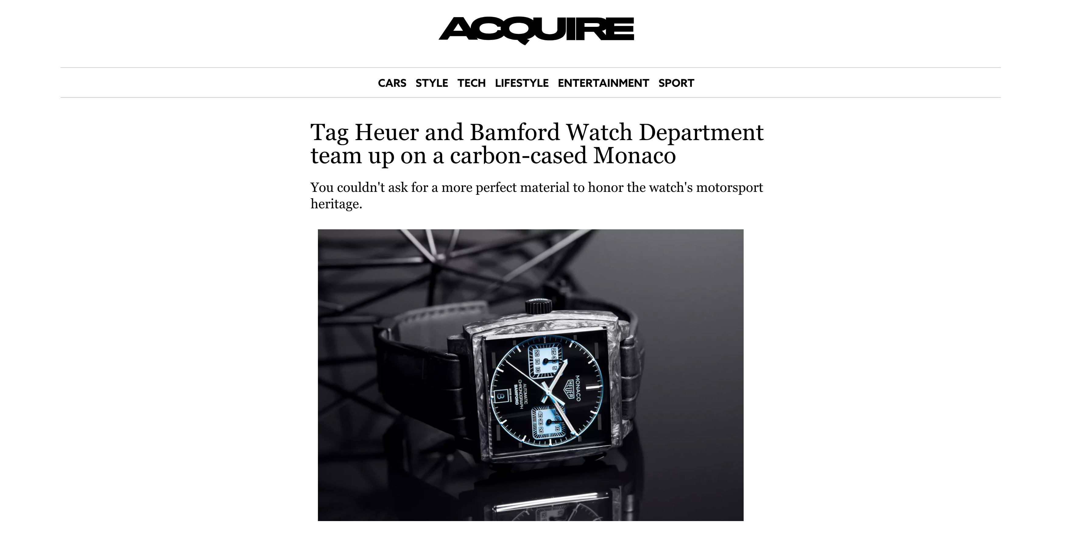 ACQUIRE: Tag Heuer and Bamford Watch Department team up on a carbon